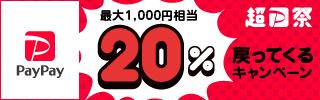 超 PayPay 祭 最大1,000 円相当 20% 戻ってくるキャンペーン