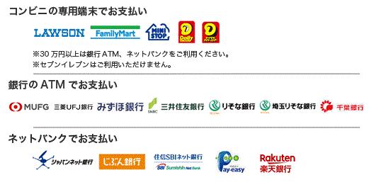 コンビニ(番号端末式)・銀行ATM・ネットバンキング決済画像